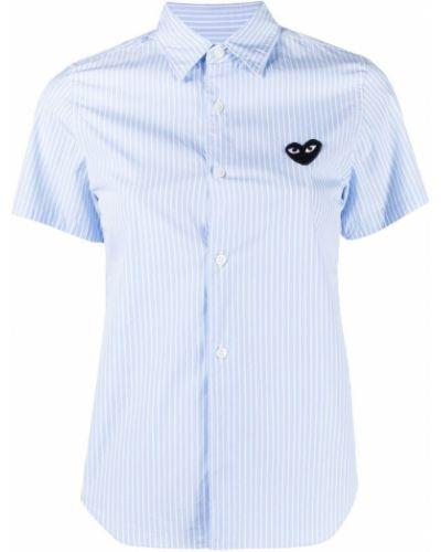 Niebieska koszula bawełniana krótki rękaw Comme Des Garcons Play