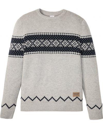 Серый пуловер круглый с вырезом Bonprix