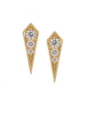 Золотистые желтые серьги-гвоздики с бриллиантом Lizzie Mandler Fine Jewelry