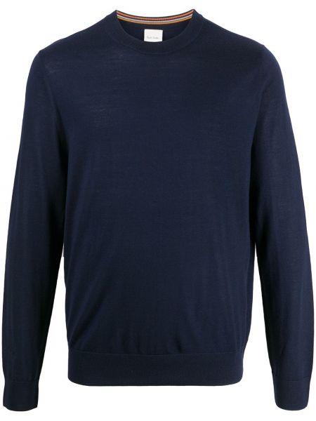 Z merynosa niebieski pulower z haftem z długimi rękawami Paul Smith
