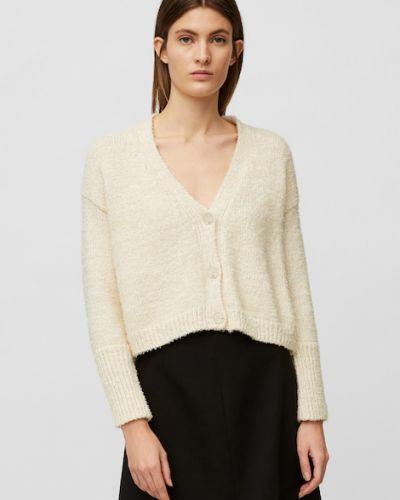 Biały sweter z dekoltem w serek Marc O Polo