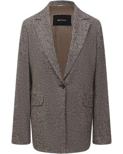 Шерстяной коричневый однобортный пиджак с подкладкой Kiton