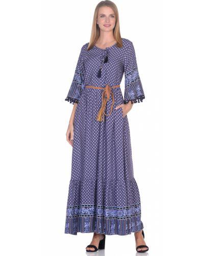 Деловое синее платье с бахромой Baon