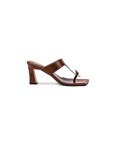 Коричневые кожаные туфли с квадратным носком квадратные на каблуке Reike Nen
