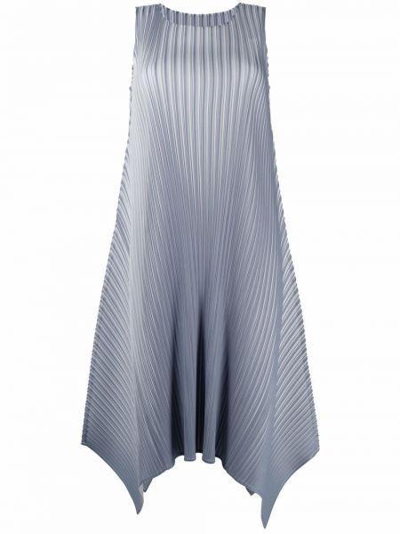 Серое платье миди без рукавов с вырезом Issey Miyake