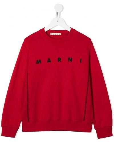 Хлопковая с рукавами красная толстовка в рубчик Marni Kids