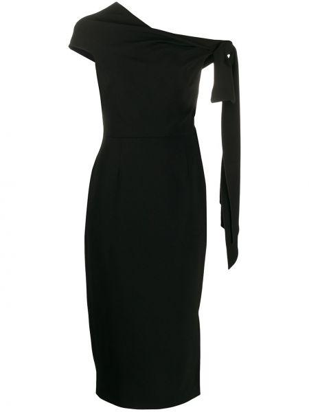 Czarna sukienka długa z jedwabiu Roland Mouret