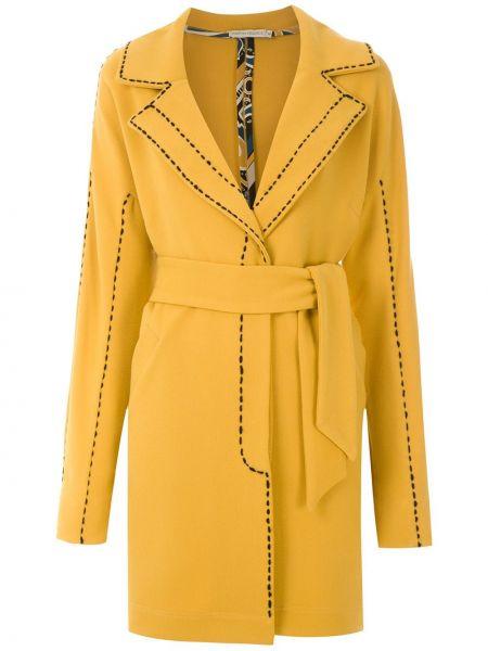 С рукавами желтое прямое пальто классическое из вискозы Martha Medeiros