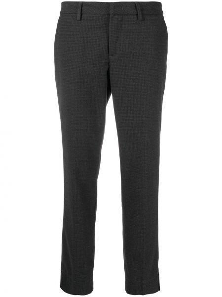 Брючные серые укороченные брюки с карманами из вискозы Fay