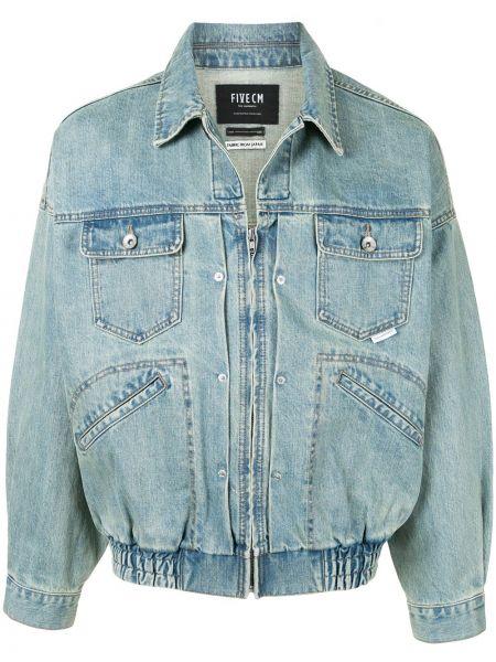 С рукавами синяя джинсовая куртка с воротником Five Cm