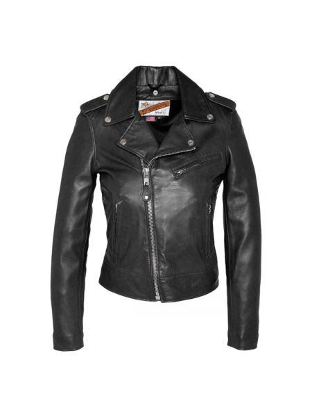 Кожаная куртка укороченная на кнопках Schott