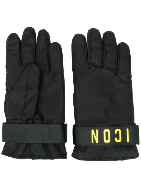 Czarne rękawiczki z printem Dsquared2