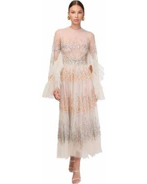Sukienka midi rozkloszowana tiulowa z cekinami Sandra Mansour