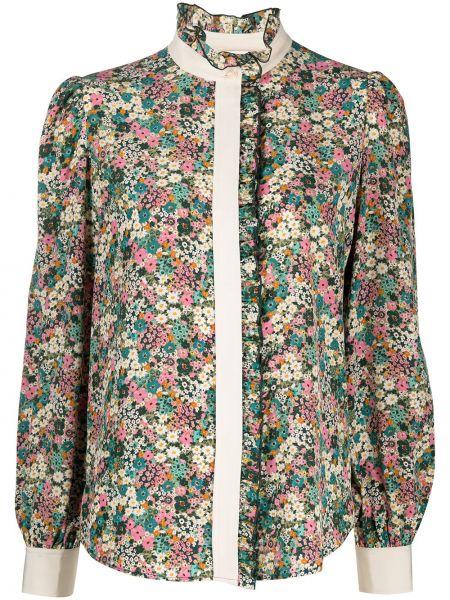 Зеленая шелковая блузка с воротником See By Chloé