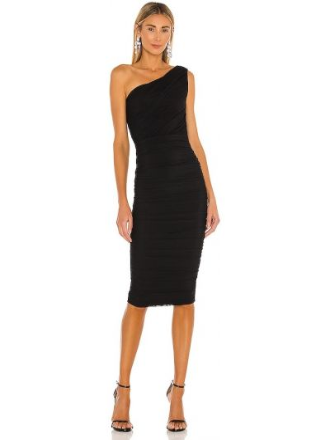 Черное платье миди на одно плечо с подкладкой Nookie