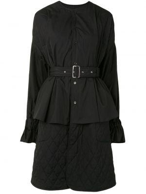 Черный кейп с воротником-стойка с поясом Comme Des Garçons Noir Kei Ninomiya