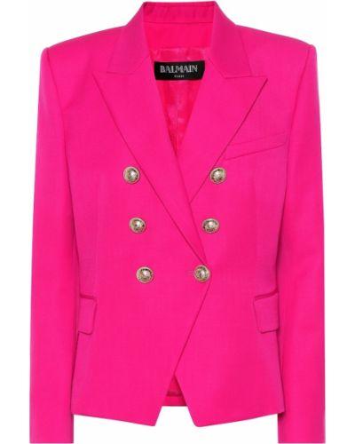 Пиджак шерстяной розовый Balmain