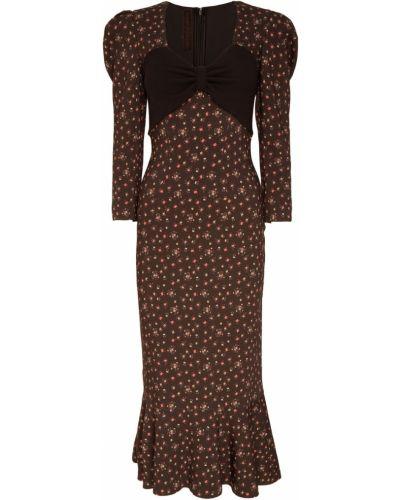 Платье миди с декольте с цветочным принтом Ulyana Sergeenko