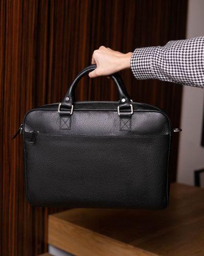Черный кожаный портфель на молнии Picard