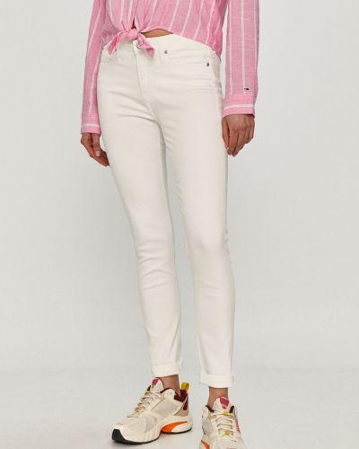 Białe jeansy rurki bawełniane Calvin Klein Jeans