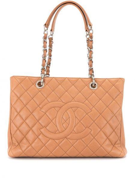 Кожаная коричневая стеганая сумка шоппер на молнии Chanel Pre-owned