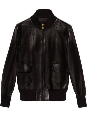 Черная кожаная длинная куртка с воротником Gucci