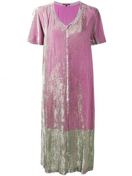 Шелковое с рукавами розовое платье миди Suzusan