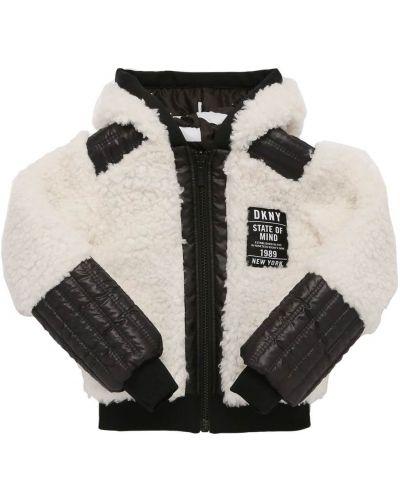 Стеганая белая дутая куртка с манжетами Dkny