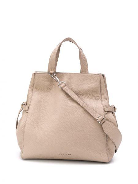 Замшевая бежевая сумка-тоут с пряжкой с карманами Orciani