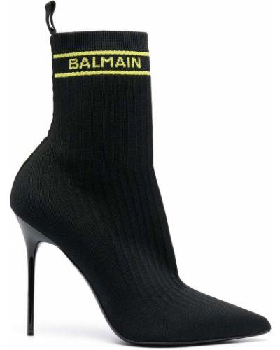 Кожаные черные носки на каблуке Balmain
