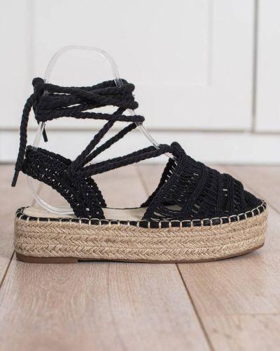 Czarne sandały espadryle z wiązaniami na co dzień Small Swan