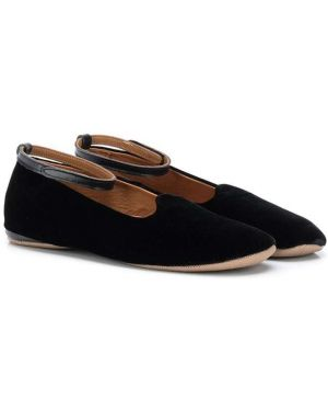 С ремешком кожаные черные туфли круглые Pépé Kids
