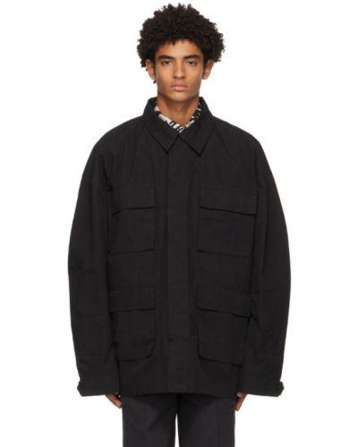Черная нейлоновая длинная куртка на пуговицах оверсайз Schnaydermans