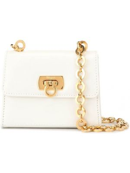 Кожаная золотистая белая кожаная сумка Salvatore Ferragamo Pre-owned