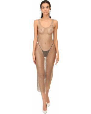 Платье миди сетчатое со стразами Alessandra Rich
