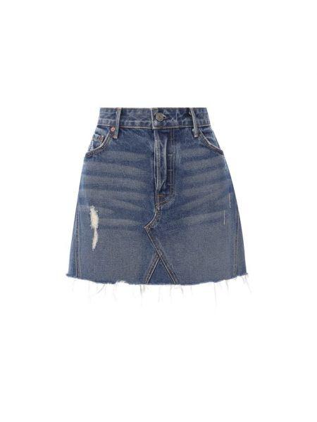 Хлопковая тонкая синяя юбка мини с декоративной отделкой Grlfrnd