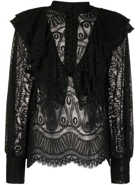 Czarna koszula koronkowa z długimi rękawami So Allure