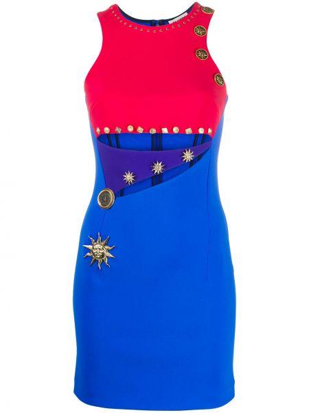 Синее платье на молнии без рукавов с вырезом Fausto Puglisi