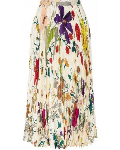 Плиссированная юбка миди шелковая Gucci