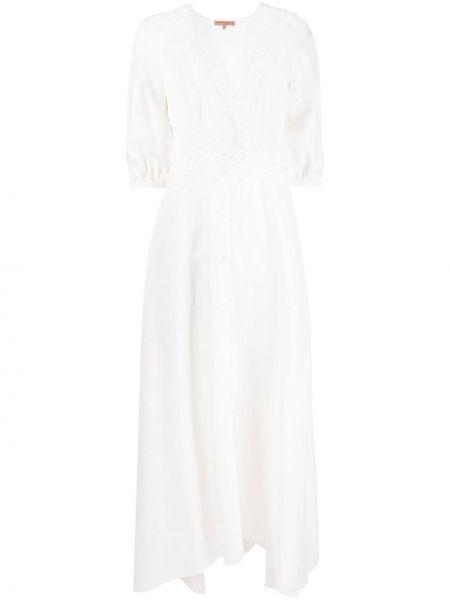 Льняное кружевное белое платье макси Ermanno Scervino