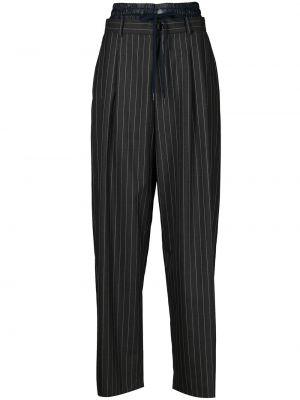 Czarne spodnie bawełniane z printem Monse