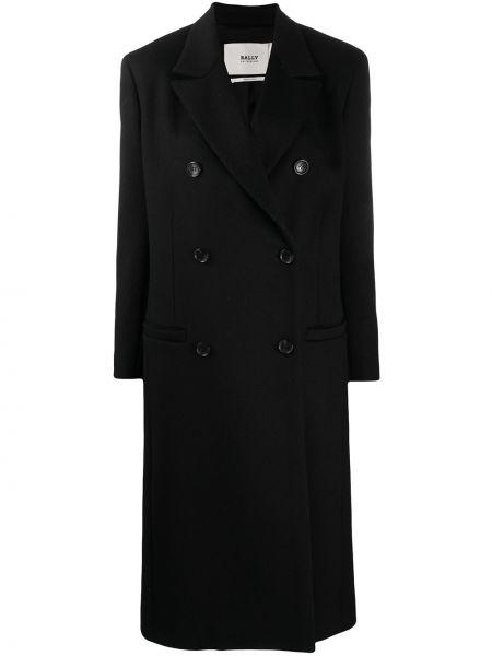 Черное кашемировое длинное пальто двубортное Bally