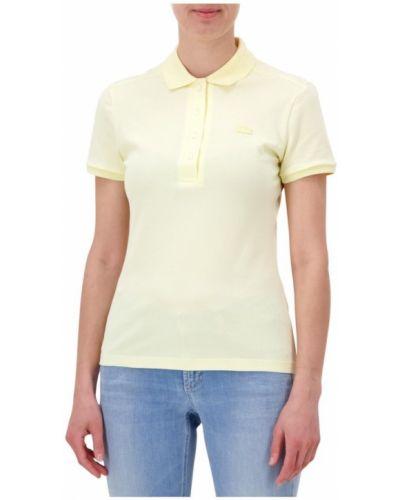 T-shirt z kołnierzem z haftem prążkowany Lacoste