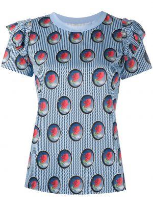 С рукавами синяя футболка с оборками с круглым вырезом Viktor & Rolf