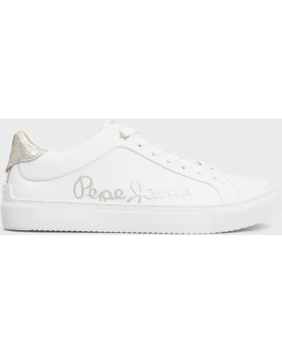 Кожаные кроссовки - белые Pepe Jeans