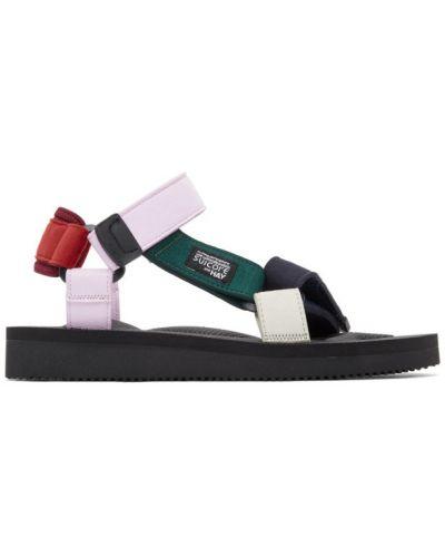 Czarne sandały sportowe na obcasie zamszowe Suicoke