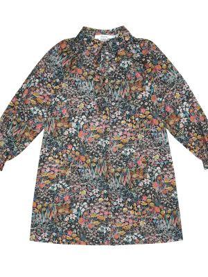 Ватное платье-рубашка вельветовое в цветочный принт Bonpoint