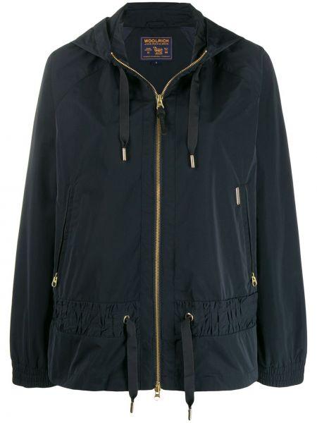 С кулиской синяя куртка с капюшоном на молнии с карманами Woolrich