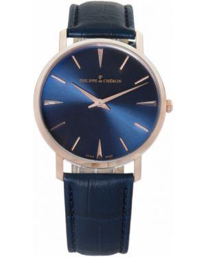 Часы водонепроницаемые кварцевые с кожаным ремешком Philippe De Cheron