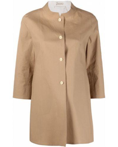 Beżowy płaszcz bawełniany zapinane na guziki Herno